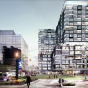 A rendering of Two25 Commons in Columbus, Ohio, a $90 million project with 17 stories of mixed-used space including first-floor retail, five floors of Class A office space and apartments and condos on 11 floors. (Daimler Group/ Kaufman Development)