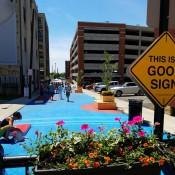 Transit Columbus's new pedestrian plaza on West Cherry Street (Credit: Transit Columbus)