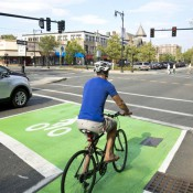"""""""Complete Streets"""" is a program that encourages municipalities to accommodate safe access for all modes of transportation. Dina Rudick / The Boston Globe"""