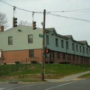 Row of public housing units in the Desoto Bass neighborhood of Dayton, Ohio (Source: realdaytonohio.blogspot.com)