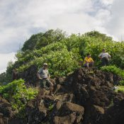 National Park Service education staff lead a hike through Tutuila's National Park and talked about the Junior Ranger program, in-classroom visits, and cultural heritage sites along the way. (Credit: America's Eroding Edges)