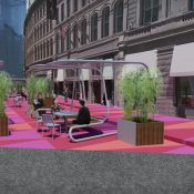 Rendering of the proposed design for an outdoor plaza in Downtown Crossing (Source: The City of Boston)