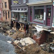 Damage along Main Street after deadly flooding in Ellicott City, Maryland (Credit: Barnard / WTTG)