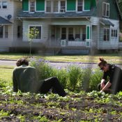 Alyssa Trimmer and Matt Steiner grow vegetables on lots in Detroit's Virginia Park neighborhood. (Jessica Leigh Hester/CityLab)