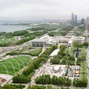 Millennium Park, Jay Pritzker Pavilion (left), and Cloud Gate (right), image by Flickr user Ashley Diener via Creative Commons
