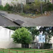 The above are before/after pictures of a vacant lot in Philadelphia that received the signature treatment under Philadelphia Horticultural Society's LandCare Program.
