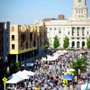 The popular Downtown Des Moines Farmers' Market is part of the regional food system that connects central Iowa farmers to consumers and is also a tool for placemaking. (Credit: Des Moines Area MPO)