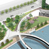 The project is focused on creating walkable neighborhoods and links to parks. (Credit: Trinity River Vision Authority)