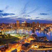 Baltimore Inner Harbor at night (Credit: Visit Baltimore)