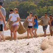 Student Volunteers Restore a Beach as part of the Deadman's Island Restoration Project. (Credit: NFWF)