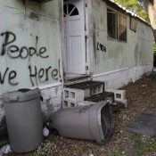 A Florida mobile home park awaits redevelopment. For many communities, new investments often brings displacement of existing residents. (Lynne Sladky/AP)
