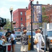 Pedestrians shopping in Seneca Falls, NY. (Credit: Lynn Richards / CNU)