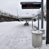 A Cambridge, Massachusetts, station stands idle last February after a snowstorm shut down the railways. (AP Photo/Josh Reynolds)