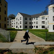 Brookland Manor, an affordable housing complex in the District that has tried to evict poor residents in order to redevelop amid the city's economic boom. (Michael S. Williamson/The Washington Post)