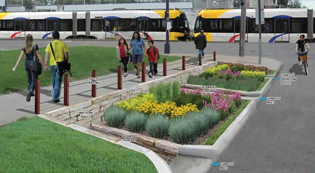Along the Green Line, 1,000 new trees, as well as nine rain gardens and stormwater planters along University Avenue, absorb and filter the rainwater (Source: Capitol Region Watershed District)