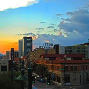 The sun sets over Tucson's older and historic buildings on Congress Avenue in Downtown Tucson. (David Graff / Flickr)
