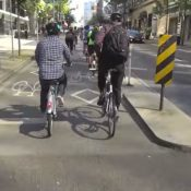 Bike lane in Vancouver, Canada (Screenshot from Streetfilms)