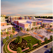 Rendering of new Landmark site with new green space and mixed use buildings. (Source: City of Alexandria)