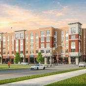An artist rendering shows The Green at Bloomfield, a 140-unit mixed-use, apartment building that opened in fall 2016 (Courtesy of BNE Real Estate)