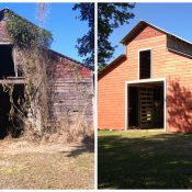 The Seminole Tribe of Florida's red barn preservation before and after (Source: Seminole Tribe of Florida Tribal Historic Preservation Office)