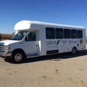 Groveport Rickenbacker Employee Access Transit service is a a shuttle-bus network that seamlessly connects to the Columbus region's Central Ohio Transit Authority (COTA) transit system (Source: Bus Sales Inc.)